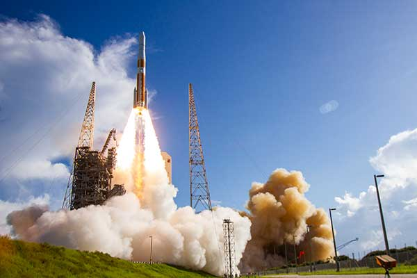 A ULA Delta IV rocket carrying GPS III SV02 lifts off from Space Launch Complex-37 on Aug. 22. (Photo: ULA)