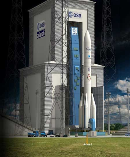 Ariane 6 on the launchpad. (Artist's concept: ESA)