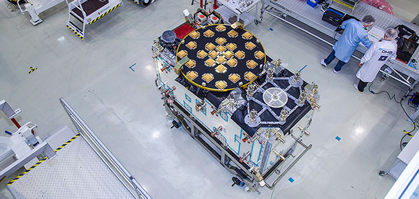 The satellite Patrick, first of Galileo's Batch 3, will eventually travel from OHB to ESA's ESTEC technical centre (shown here) in Noordwijk, the Netherlands for rigorous testing in simulated space conditions. (Photo: European Space Agency)