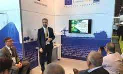 GSA Market Development Innovation Officer Eduard Escalona speaks at the Intergeo Galileo workshop. (Photo: GSA)