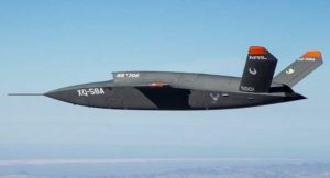 The XQ-58A Valkyrie demonstrator, a long-range, high subsonic UAV completed its inaugural flight March 5, 2019, at Yuma Proving Grounds, Arizona. (Phodto: U.S. Defense Department)