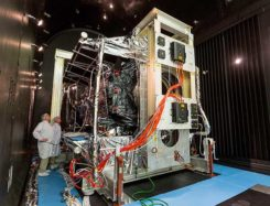 Thermal Vacuum testing verifies that a satellite can operate in space's extreme environment. (Photo: Lockheed Martin)