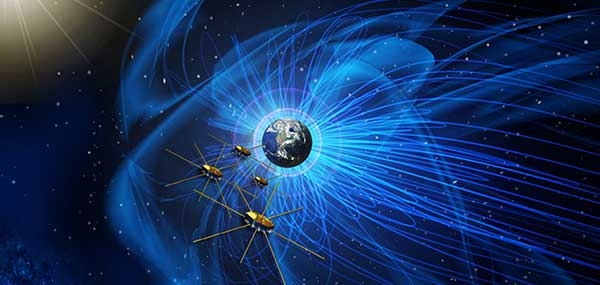 Artist's concept of NASA's Magnetospheric Multiscale mission consists of four identically equipped observatories that rely on Navigator GPS to maintain an exacting orbit that is at its highest point nearly half-way to the Moon. (Image: NASA)