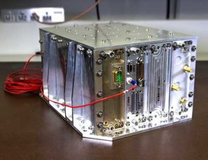 NavCube, which will be tested aboard the International Space Station later this year, is being used as a baseline for a lunar GPS receiver. (Photo: NASA/W. Hrybyk)