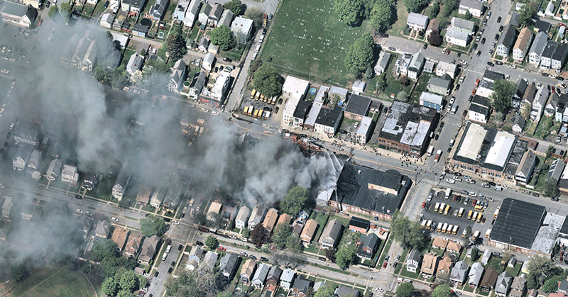 Albany, N.Y.: A house fire in progress. (Photo: Nearmap)