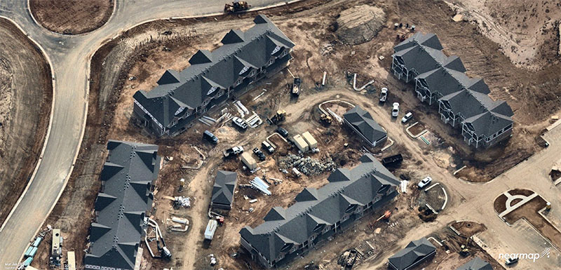 Figure 2: Rapid growth requires frequent imagery. Above is a new Durham neighborhood under construction. (Photo: Nearmap)