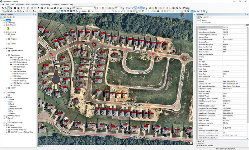 Figure 1: Mapping image for Shelby County's 9-1-1 system. (Photo: Nearmap)