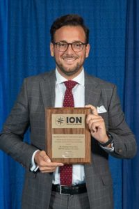 Santiago Perea Diaz receives the 2019 Bradford W. Parkinson Award from ION's Satellite Division. (Photo: ION)