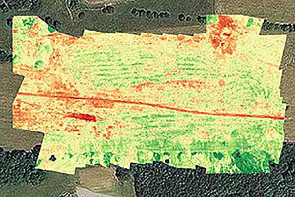 Crop health analysis: Precisionhawk's software PrecisionAnalytics—Agriculture automatically generates georeferenced orthomosaics from data collected with drone sensors. (Map: PrecisionHawk)