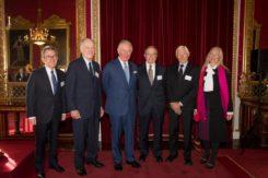 From left: Lord John Browne, Richard Schwartz, HRH The Prince of Wales, Bradford Parkinson, Hugo Fruehauf, Anna Marie Spilker at the Queen Elizabeth Prize for Engineering ceremony at Buckingham Palace, December 3, 2019. (Photo: Jason Aldean)