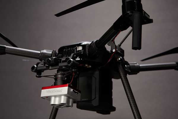 The Microsense RedEdge-MX sensor aboard DJI's M210 RTK drone. (Photo: MicaSense)
