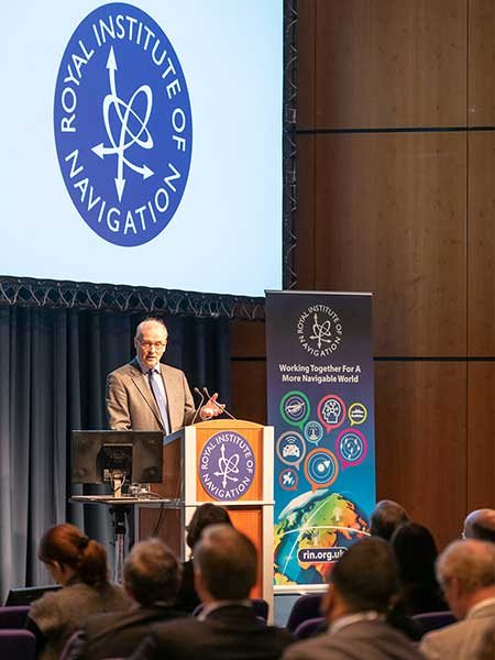 John Pottle opens the 2019 International Navigation Conference sponsored by the Royal Institute of Navigation (RIN). (Photo: RIN)