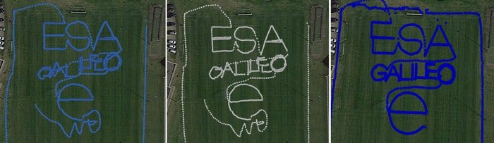 "To test the accuracy of the competing satnav smartphone apps, the words ESA and Galileo were traced along ESTEC's football field. The left side uses single frequency GPS and Galileo signals, the centre uses dual frequency signals from the two constellations while the right is with precise corrections. The word ""ESA"" is 15 meters high, while ""Galileo"" is 7 meters high. (Photos: ESA)"