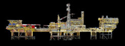 completed an aerial 3D survey and produced a 3D model of an offshore oil rig platform in the North Sea for Shell. (Photo: Terra Drone)