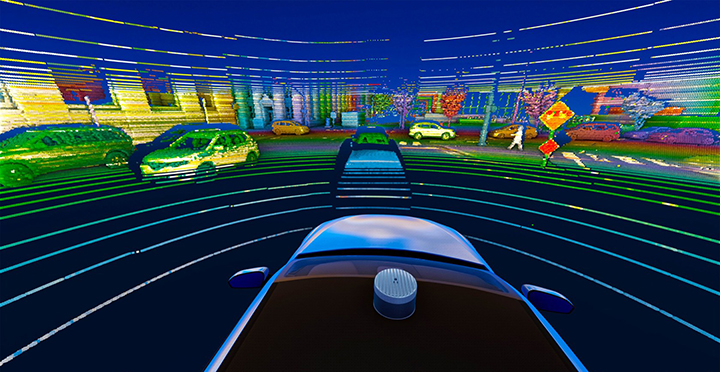 A 3D lidar sensor such as the Velodyne Alpha Puck can deliver information to help enable vehicle autonomy and advanced driver-assistance systems. (Image: Velodyne)