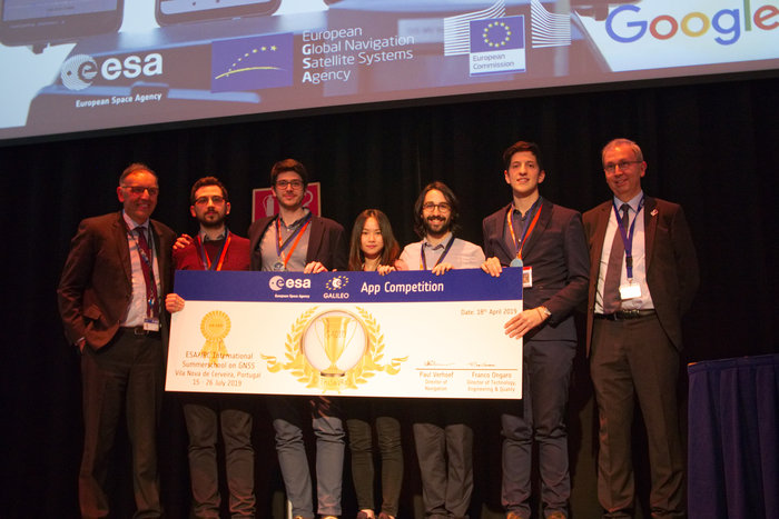 The multinational 'O ThiSaVRoS' team – named after the Greek word for treasure – developed the 'GNSS Android-based Dual Frequency Iono-estimating Precise Point Positioning' or GADIP 3 app, winning the ESA-EC-GSA Galileo smartphone app competition 2019. (Photo: ESA)