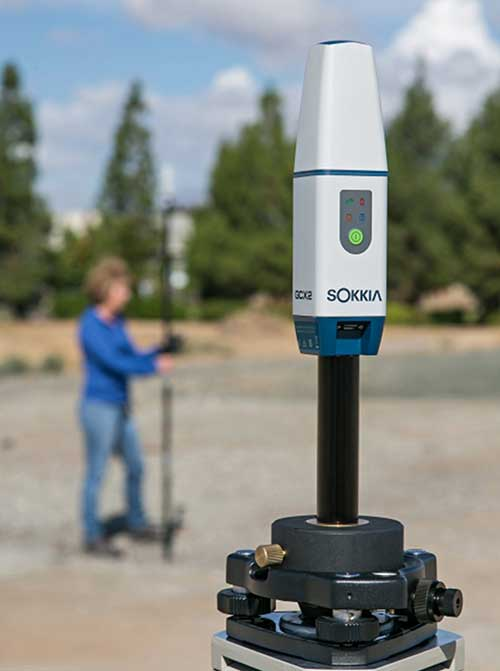 The Sokkia GCX2 receiver integrates a helical antenna. (Photo: Topcon)