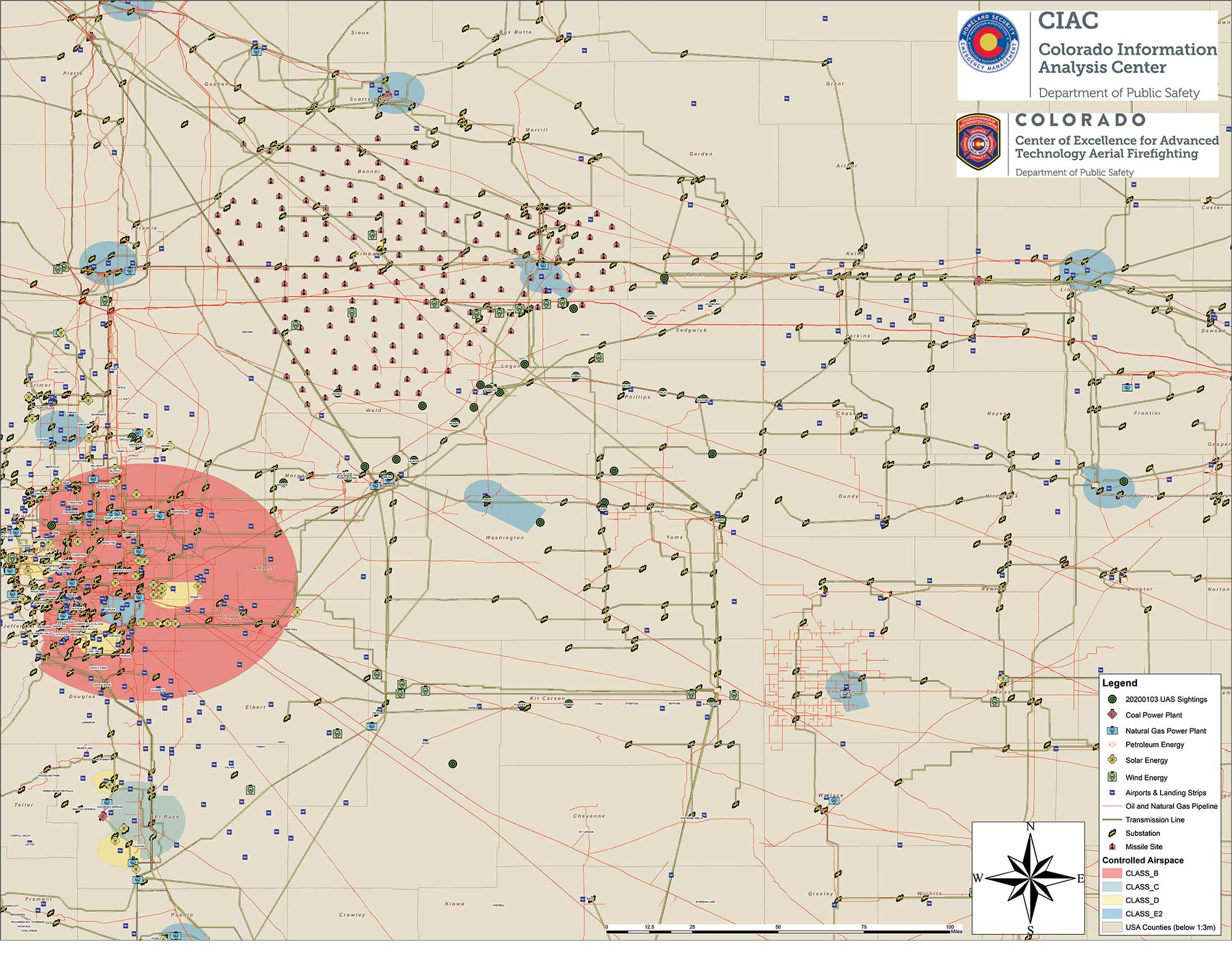 This DFPC map, obtained by FOX31 TV, shows possible locations of drone sightings along with power plants, pipelines and missile sites. (Map: Colorado Division of Fire Prevention and Control)