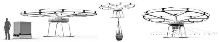 Examples of VoloDrone load configurations. (Photo: Volocopter)