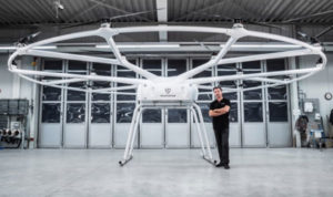 Christoph Hommet, chief engineer, with the heavy-lift VoloDrone. (Photo: Volocopter)
