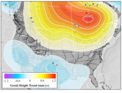 Figure 27: GRACE Trend over CONUS from UTCSR RL06 Model [mm/yr] (Source: Figure 27 from Technical Report NOS NGS 69)