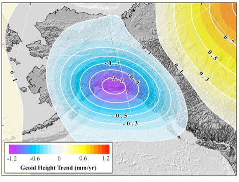 Figure 28: GRACE Trend over Alaska from UTCSR RL06 GRACE Model [mm/yr] (Source: Figure 28 from Technical Report NOS NGS 69)