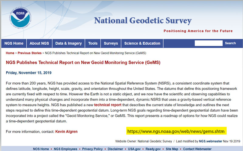 Screenshot: National Geodetic Survey
