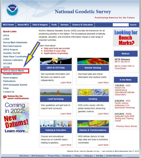 Figure 2: NGS Home Web Page (Photo: National Geodetic Survey)