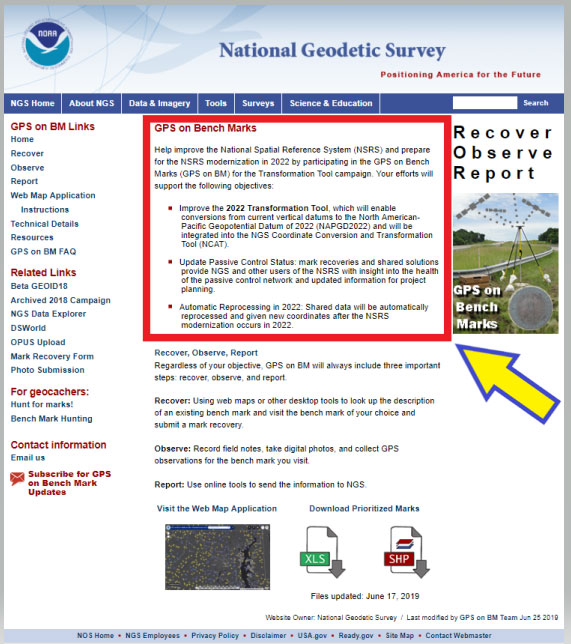 Figure 3: GPS on Bench Marks Home Web Page (Photo: National Geodetic Survey)