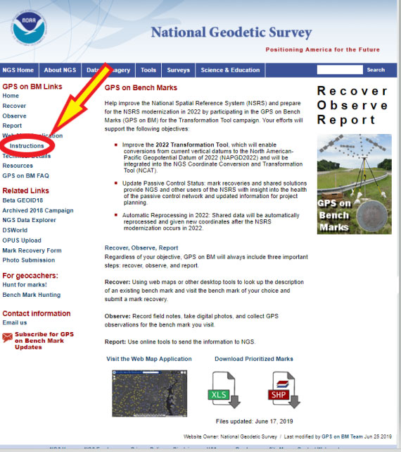 Figure 10: GPS on Bench Marks Web Map Instructions Site (Photo: National Geodetic Survey)